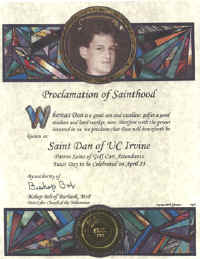 Sample Proclamation of Sainthood Certificate